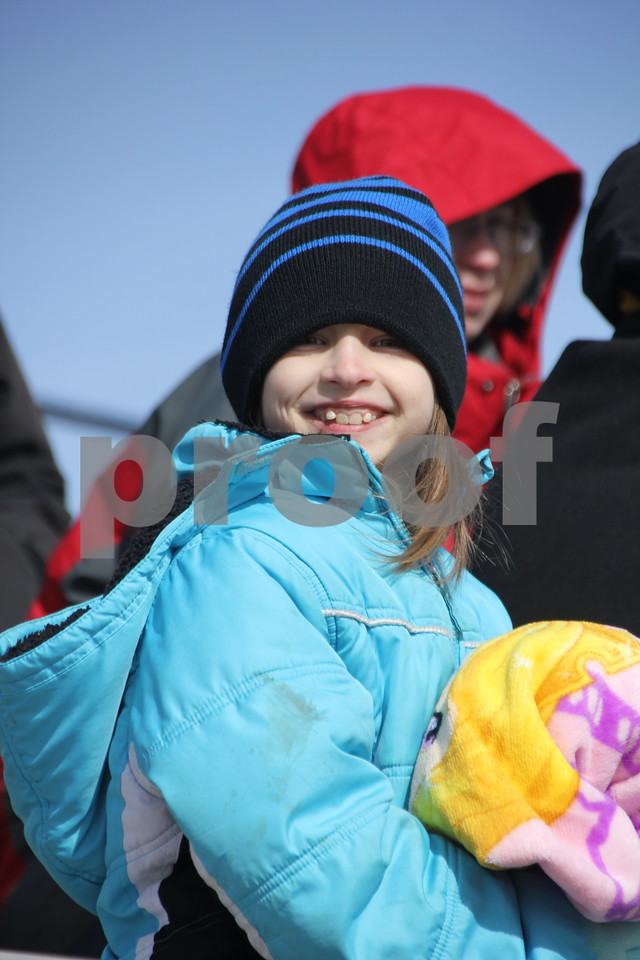 Saturday, April 2, 2016 Dodger Stadium in Fort Dodge was the site of the Moose Lodge Annual Easter Egg Hunt. The event had been scheduled for the previous weekend but had to be rescheduled for this weekend due to weather concerns. Seen here is : Mackenzie Derrig waiting for the event to begin.