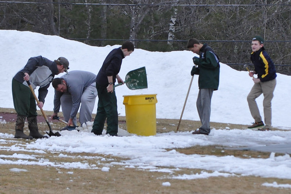 Shoveling the Baseball Field!