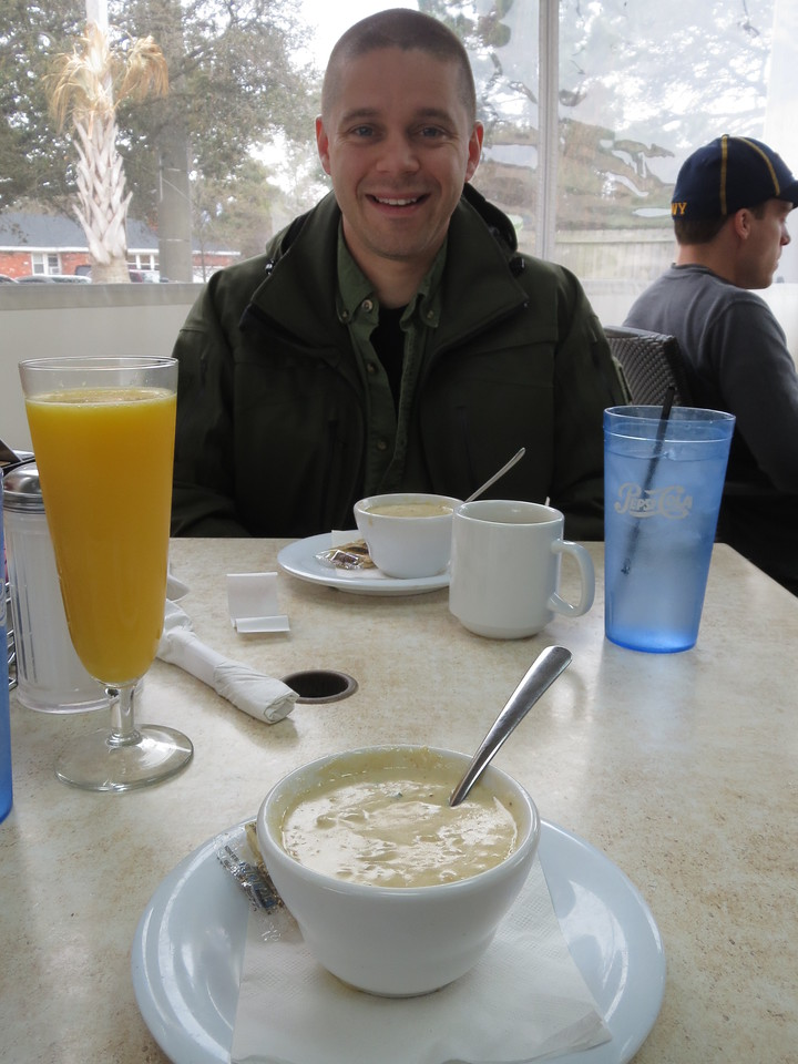 Tom is a fairly recent (last few years) transplant to the Chesapeake Bay area.  He recently discovered a regional food favorite, 'shecrab soup'.  Tom eats this shit non stop.  Here he is - at breakfast - getting ready to chow down.  It's pretty good, actually.
