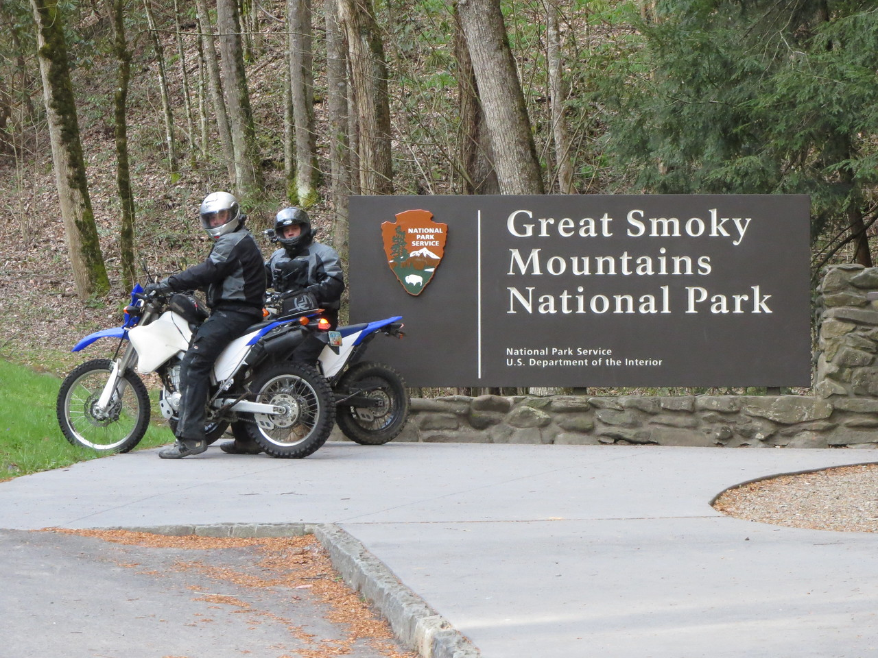 The next morning, we took off to ride the Smokies, Deals Gap, Cherohala, 28, all the great roads.  Alan (L) and Kyle at the north entrance to the GSMNP.