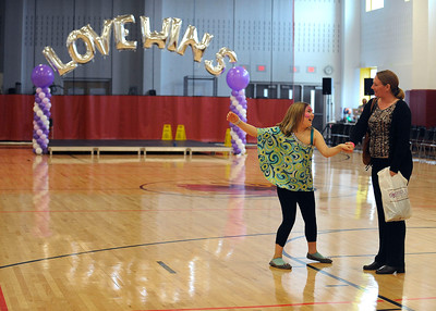 4/2/2016 Mike Orazzi | Staff Victoria Danz and her mom Tracy Emmons dance in the gym at the Capitol Region Education Council Medical Professions & Teacher Preparation Academy during The fourth Annual Dance for Ana with Love fundraiser for the charitable organization named for one of the young victims of the 2012 Newtown school shootings Saturday.