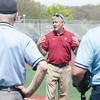 Apr. 29, 2017. Pete Frates High School Baseball Tournament, Fraser Field, Lynn. Ipswich vs. Lynnfield high school baseball. John Frates, father of Pete Frates, addresses the Ipswich and Lynnfield High School baseball teams, coaches and umpires prior to the start of the teams' game Saturday.