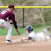 Apr. 29, 2017. Swampscott Middle School, Swampscott. Lynn English vs. Swampscott high school baseball. Swampscott's Spencer Perkins hangs onto the base after stealing second as English's Wilbur Rosario comes over to apply the tag.