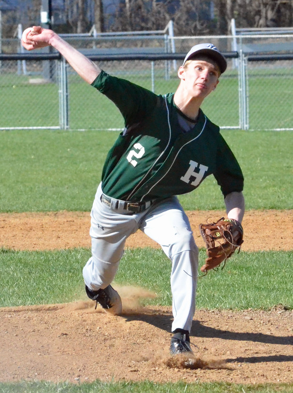 . KYLE MENNIG � ONEIDA DAILY DISPATCH Hamilton\'s Sam Campbell (3) delivers a pitch to a New York Mills batter during their game in Hamilton on Friday, April 14, 2017.