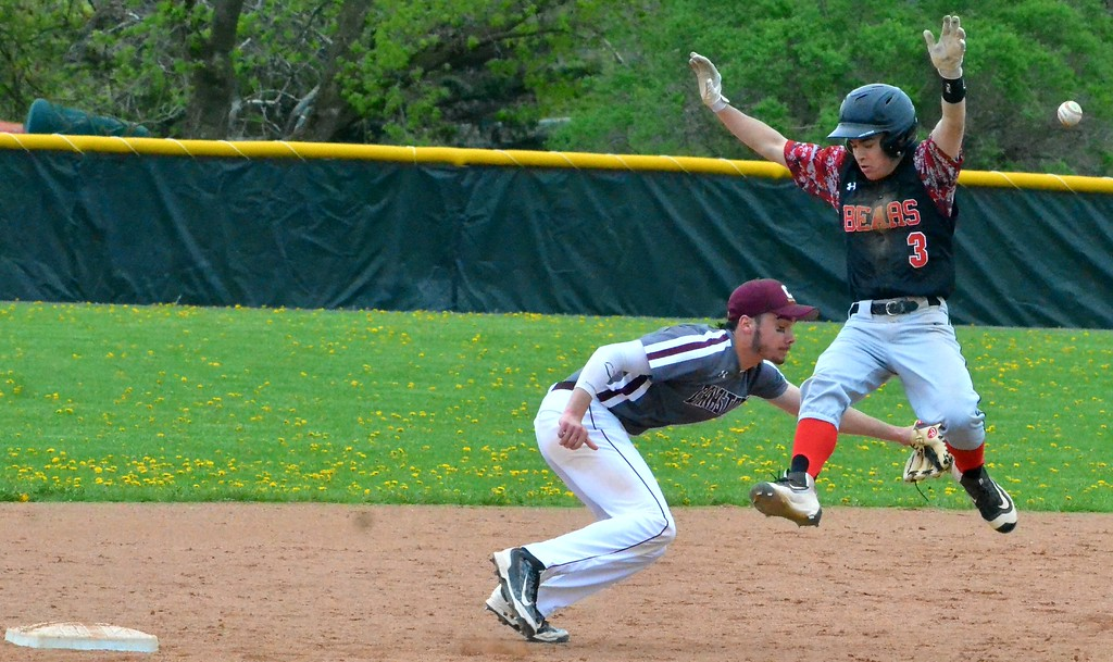 . KYLE MENNIG - ONEIDA DAILY DISPATCH Chittenango\'s Tom Rooney (3) jumps to avoid the ball as Canastota\'s Ethan O\'Connell (9) during their game in Chittenango on Saturday, April 29, 2017.