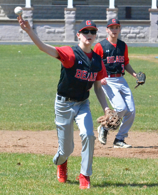 . KYLE MENNIG - ONEIDA DAILY DISPATCH Chittenango\'s Noah Schnauffer (1) makes a throw to first to retire an Oneida batter during their game in Rome on Sunday, April 9, 2017.