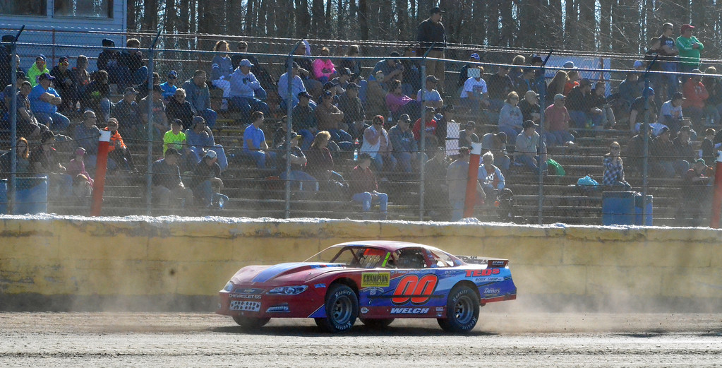 . JOHN BREWER � ONEIDA DAILY DISPATCH Fans fill the bleachers to watch a race on opening day at Utica-Rome Speedway in Vernon on Sunday, April 23, 2017.