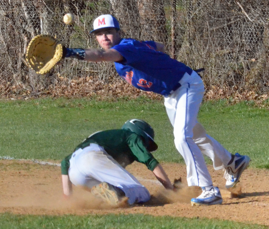 . KYLE MENNIG � ONEIDA DAILY DISPATCH Hamilton\'s Sean Hunt (1) dives back into first as New York Mills\' Jake Vennaro (12) reaches for the throw during their game in Hamilton on Friday, April 14, 2017.