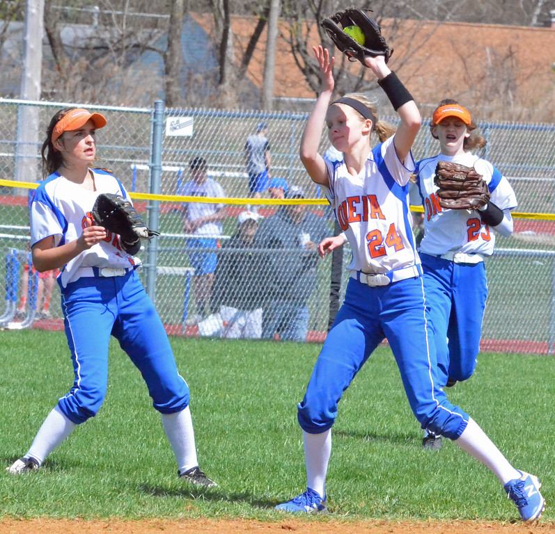 . KYLE MENNIG � ONEIDA DAILY DISPATCH Oneida\'s Lauren Skibitski (24) makes a catch in front of teammates Emily Marshall (7) and Sydney Lusher (23) to retire a Jamesville-DeWitt batter during their game in Oneida on Monday, April 17, 2017. Skibitski was called out on the play.