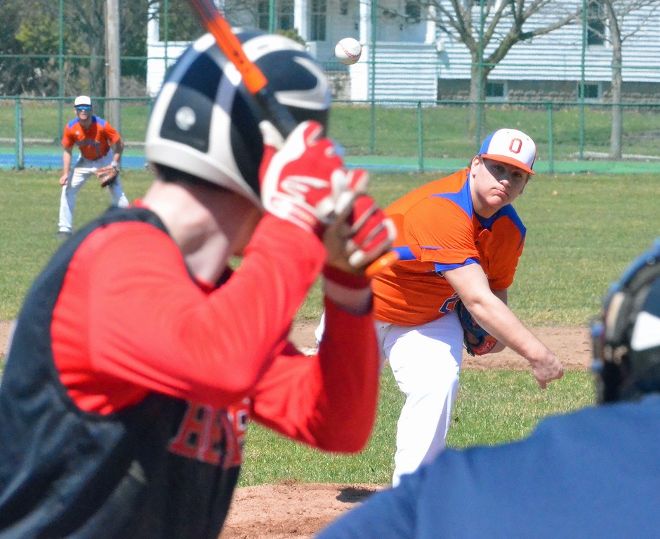 . KYLE MENNIG - ONEIDA DAILY DISPATCH Oneida\'s Ryan Chevier (22) delivers a pitch to a Chittenango batter during their game in Rome on Sunday, April 9, 2017.