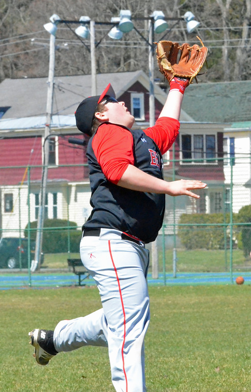 . KYLE MENNIG - ONEIDA DAILY DISPATCH Chittenango\'s Joseph Mosack (19) makes a catch to retire an Oneida batter during their game in Rome on Sunday, April 9, 2017.