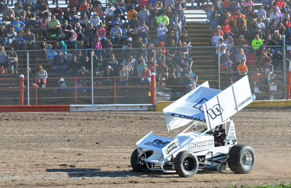 . JOHN BREWER � ONEIDA DAILY DISPATCH Fans fill the bleachers to watch a sprint car race on opening day at Utica-Rome Speedway in Vernon on Sunday, April 23, 2017.
