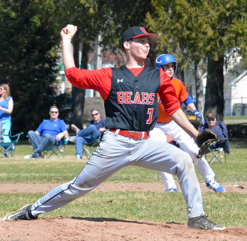 . KYLE MENNIG - ONEIDA DAILY DISPATCH Chittenango\'s Tim Ryder (7) delivers a pitch to an Oneida batter during their game in Rome on Sunday, April 9, 2017.