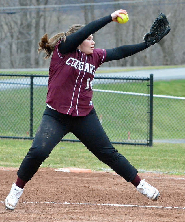 . KYLE MENNIG - ONEIDA DAILY DISPATCH Stockbridge Valley\'s Alaina Beane winds up to deliver a pitch to a Brookfield batter during their game in Munnsville on Wednesday, April 5, 2017.