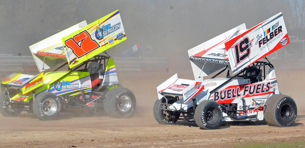 . JOHN BREWER � ONEIDA DAILY DISPATCH Sprint cars hit the track during opening day at Utica-Rome Speedway in Vernon on Sunday, April 23, 2017.