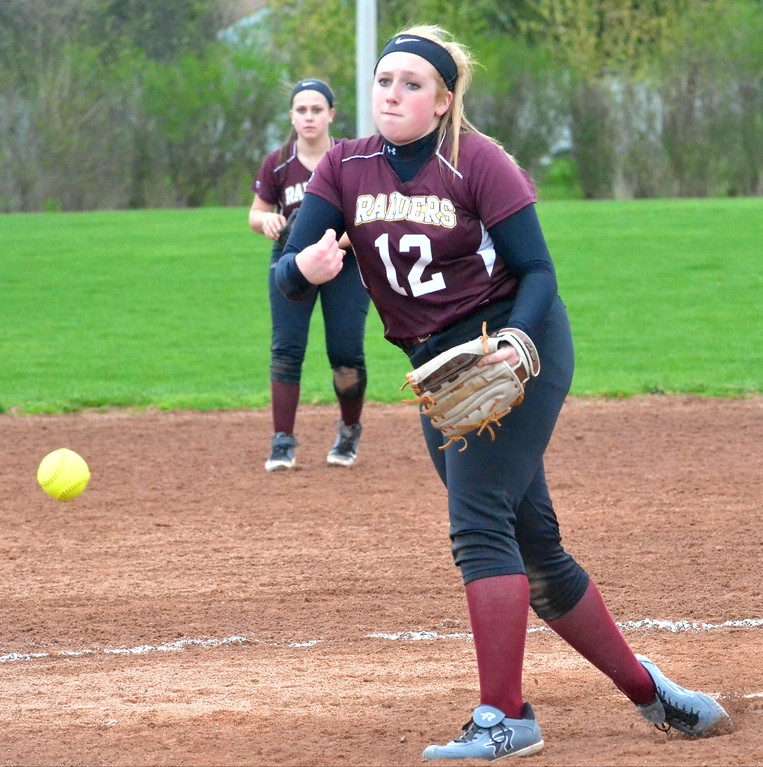. KYLE MENNIG - ONEIDA DAILY DISPATCH Canastota\'s Rhilea Chabot (12) delivers a pitch to a Central Valley Academy batter during their game in Canastota on Tuesday, April 25, 2017.