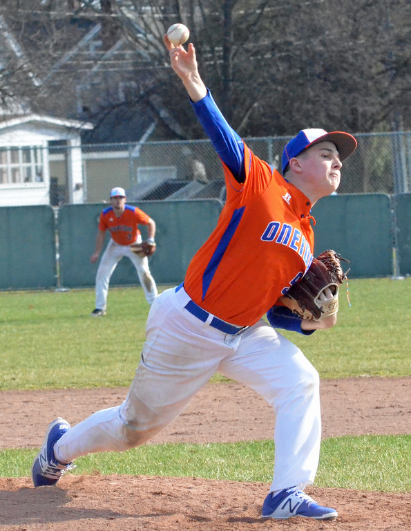 . KYLE MENNIG - ONEIDA DAILY DISPATCH Oneida\'s Casey Rich (9) delivers a pitch to a Rome Free Academy batter during their game in Rome on Sunday, April 9, 2017.