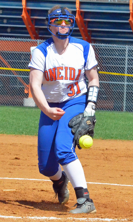 . KYLE MENNIG � ONEIDA DAILY DISPATCH Oneida pitcher Kyra Shlotzhauer delivers a pitch to a Jamesville-DeWitt batter during their game in Oneida on Monday, April 17, 2017.