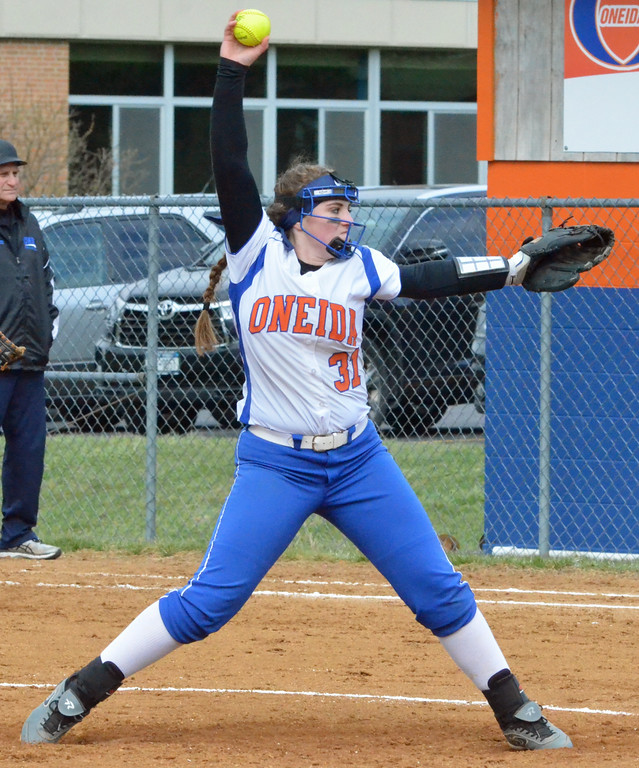 . KYLE MENNIG � ONEIDA DAILY DISPATCH Oneida\'s Kyra Shlotzhauer (31) winds up to throw a pitch to a Camden batter during their game in Oneida on Wednesday, April 12, 2017.