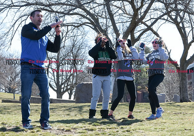 040217  Wesley Bunnell | Staff  Team Johnson Walk took place on Sunday April 2, 2017 in Walnut Hill Park. 100% of the proceeds collected are being donated to the Fight Colorectal Cancer Foundation. The walk was organized by Caroline Johnson, wife of New Britain Firefighter Scott Johnson, who is currently being treated for the disease. Performing to Uptown Funk are from left, DJ and firefighter Sean Crawford with Sound Direct, Rozalynn Smith, Natalie Reeves and Kaylah Schnitzer.