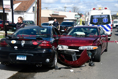 4/7/2017 Mike Orazzi | Staff The scene of a two car crash on Route 6 near the entrance to AutoZone in Bristol Friday afternoon. One was transported by Bristol Ambulance.