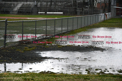 4/7/2017 Mike Orazzi | Staff Standing water at Barnes Field on Mix Street in Bristol Friday after heavy rain on Thursday.