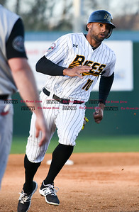 041417  Wesley Bunnell | Staff  New Britain Bees in their second exhibition game of the pre season on April 14 against the Greater Hartford Twilight League All Stars. Mike Crouse (10) rounds third base on his way home to score.