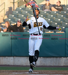 041417  Wesley Bunnell | Staff  New Britain Bees in their second exhibition game of the pre season on April 14 against the Greater Hartford Twilight League All Stars. Mike Crouse (10) with a bat flip after a swing and a miss.