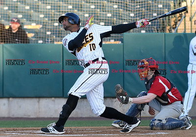 041417  Wesley Bunnell | Staff  New Britain Bees in their second exhibition game of the pre season on April 14 against the Greater Hartford Twilight League All Stars. Mike Crouse (10) in his follow through.
