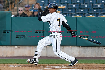 041417  Wesley Bunnell | Staff  New Britain Bees in their second exhibition game of the pre season on April 14 against the Greater Hartford Twilight League All Stars. James Skelton (3).