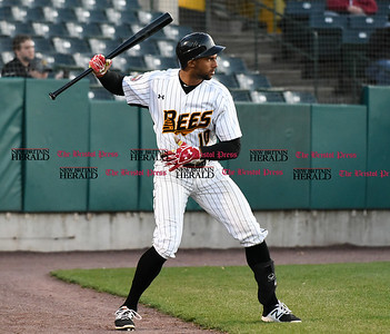 041417  Wesley Bunnell | Staff  New Britain Bees in their second exhibition game of the pre season on April 14 against the Greater Hartford Twilight League All Stars. Mike Crouse (10)
