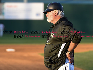 041417  Wesley Bunnell | Staff  New Britain Bees in their second exhibition game of the pre season on April 14 against the Greater Hartford Twilight League All Stars. Manager Stan Cliburn.