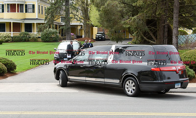 042417  Wesley Bunnell | Staff  A hearse enters the driveway of the O'Brien Funeral home before a private service for family and friends of Aaron Hernandez which was held on Monday April 24.