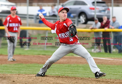 042417  Wesley Bunnell | Staff  Southington High School baseball defeated Berlin on Monday afternoon in a game played at Southington. Berlin pitcher Dan Valdesi (4).