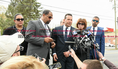 042417  Wesley Bunnell | Staff  Attorney's for former New England Patriot Aaron Hernandez Ronald S. Sullivan Jr. , second rom left, and Jose Baez, 3rd from left address the media outside O'Brien Funeral Home after a memorial service on Monday April 24.