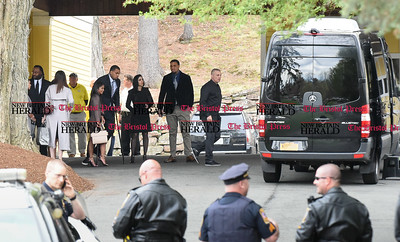 042417  Wesley Bunnell | Staff  Free agent linebacker Brandon Spikes, left leaves the O'Brien Funeral Home after a private service for former New England Patriots Tight End Aaron Hernandez along with friends Miami Dolphin Center Mike Pouncey and twin brother Pittsburgh Steeler Center Maurkice Pouncey on Monday April 24.
