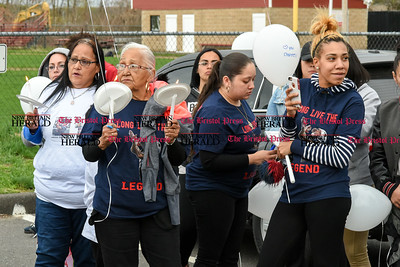042417  Wesley Bunnell | Staff  A candlelight vigil was held at Casey Field in Bristol by family and friends of former New England Patriot Aaron Hernandez. Messages of support for the Hernandez family were written on balloons which were then released into the air.