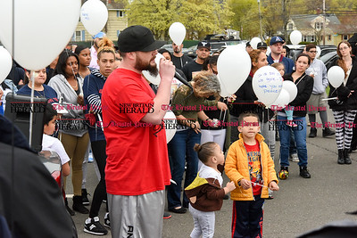042417  Wesley Bunnell | Staff  A candlelight vigil was held at Casey Field in Bristol by family and friends of former New England Patriot Aaron Hernandez. Friends took turns described the ways in which Aaron impacted their lives.