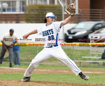 042417  Wesley Bunnell | Staff  Southington High School baseball defeated Berlin on Monday afternoon in a game played at Southington. Southington pitcher Connor McDonough (22).