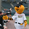 042717  Wesley Bunnell | Staff<br /> <br /> The New Britain Bees vs the Lancaster Barnstormers played on Thursday evening. Bees mascot Sting high fives Bees players after riding in from the visitors bullpen on the Dattco Bus.