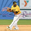 042717  Wesley Bunnell | Staff<br /> <br /> The New Britain Bees vs the Lancaster Barnstormers played on Thursday evening. Jovan Rosa (35) fields a ground ball glove side after his moment brings to the shortstop position.