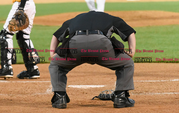 042717 Wesley Bunnell | Staff The New Britain Bees vs the Lancaster Barnstormers played on Thursday evening. Home plate umpire kneels over in pain after taking a fall ball off the mask.