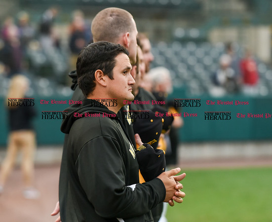 042717 Wesley Bunnell | Staff The New Britain Bees vs the Lancaster Barnstormers played on Thursday evening. Ivan Villaescusa (7) lines up with teammates during the National Anthem.