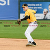 042717  Wesley Bunnell | Staff<br /> <br /> The New Britain Bees vs the Lancaster Barnstormers played on Thursday evening. Jake McGuiggan (2) fields and throws to first base for the out.