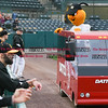 042717  Wesley Bunnell | Staff<br /> <br /> The New Britain Bees vs the Lancaster Barnstormers played on Thursday evening. Bees mascot Sting rides the Dattco Bus in from the bullpen.