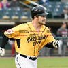 042717  Wesley Bunnell | Staff<br /> <br /> The New Britain Bees vs the Lancaster Barnstormers played on Thursday evening. Conor Bierfeldt (28) runs down the first base line on a deep fly ball to right center field.