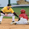 042717  Wesley Bunnell | Staff<br /> <br /> The New Britain Bees vs the Lancaster Barnstormers played on Thursday evening. Jake McGuiggan (2) fields the throw from James Skelton (3) on a steal with the Lancaster runner safe on the play.