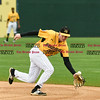 042717  Wesley Bunnell | Staff<br /> <br /> The New Britain Bees vs the Lancaster Barnstormers played on Thursday evening. A ground ball hops over the glove of Jake McGuiggan (2) .