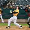 042717  Wesley Bunnell | Staff<br /> <br /> The New Britain Bees vs the Lancaster Barnstormers played on Thursday evening. Jake McGuiggan (2) hits an infield pop up.