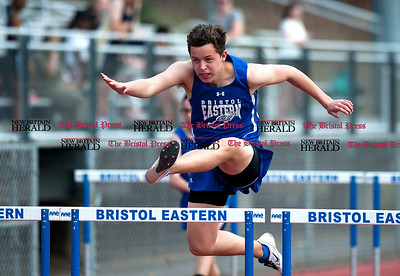 4/11/2017 Mike Orazzi | Staff Bristol Eastern's Donovan Soucy during Tuesday's track meet.
